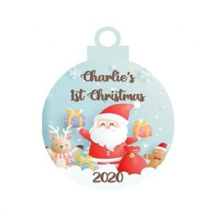 1st Christmas Santa Acrylic Bauble Christmas Ornament Decoration